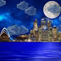 Night city from sea wallpaper icon