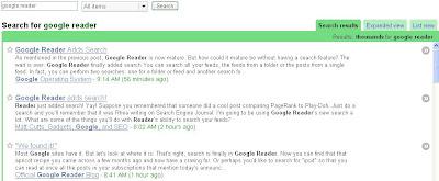 Klik hier voor een vergroting van de Google Reader Zoekresultaten