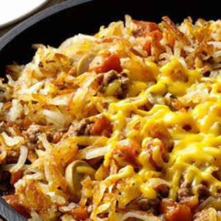 Cheesy Hash Brown Skillet Dinner.