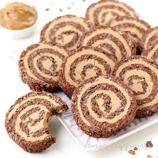 Cocoa Crispy Treat Peanut Butter Fudge Pinwheels