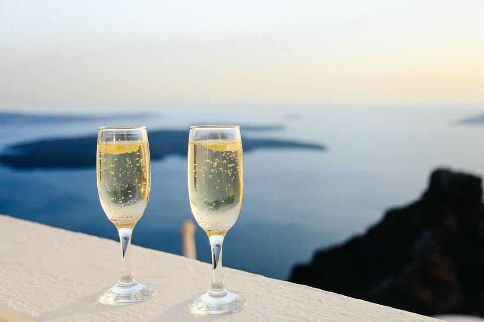 Sparkling Wine, Bubbles, Glasses, Two, View, Panorama