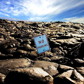 No Parking Sign in Lava by Jorge Villalba - Artistic Objects Other Objects ( no parking, signs, lava, pwcroadsigns )