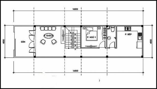 Bản vẽ mặt bằng tầng 1 mẫu nhà ống 2 tầng mặt tiền 4m