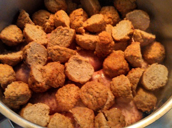 now in another bowl mix together the sausage and meatballs that you have already...