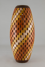 "Photo: Bob Grudberg 6"" x 13"" vase [maple, satin wood, mahogany]"