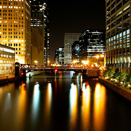 Chicago by Seth Parkinson - City,  Street & Park  Night ( lights, color, night, chicago, city, river )