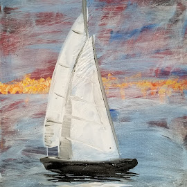 Sail Boat by Anika McFarland - Painting All Painting ( acrylic painting, sunrise, sail boat, painting, boat )