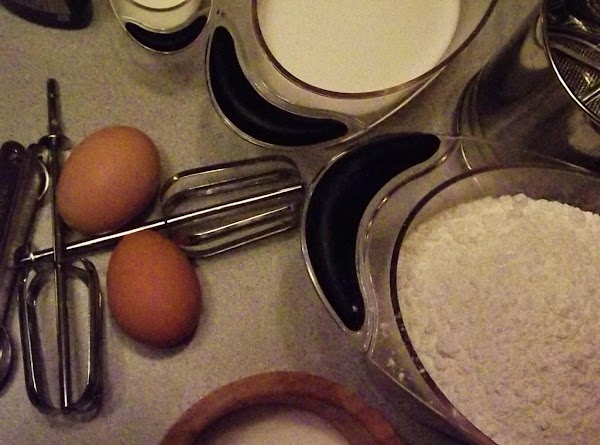 Blend Crisco, sugar, eggs, milk and vanilla. Add dry ingredients and mix thoroughly.