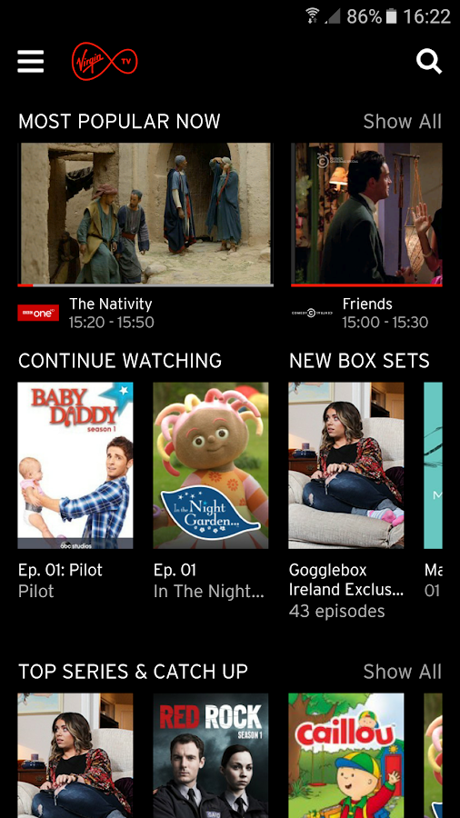 Virgin TV Anywhere Ireland- screenshot
