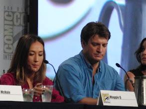 Photo: Saturday (Dana) - TV Guide Fan Favorites panel; Maggie Q and Nathan Fillion