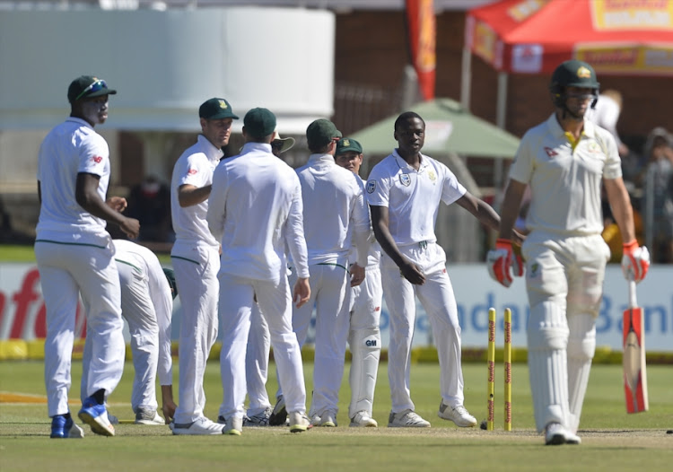 Kagiso Rabada of the Proteas celebrate the wicket Mitchell Marsh of Australia bowled during day 4 of the 2nd Sunfoil Test match between South Africa and Australia at St Georges Park on March 12, 2018 in Port Elizabeth, South Africa.