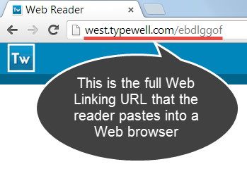 screenshot of highlighted reader URL \(