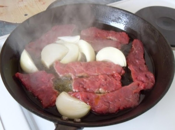 Cut beef into small strips or cubed which ever you prefer. Clean and slice...