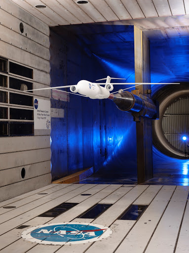 Wind model installed in the Ames 11x11 Foot Wind Tunnel for testing as part of the Subsonic Ultra Green Aircraft Research Project.