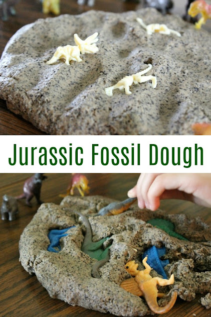 Jurassic Fossil Dough recipe - this easy dough recipe is perfect for creating dinosaur fossils, letting kids dig for buried treasure, and more!