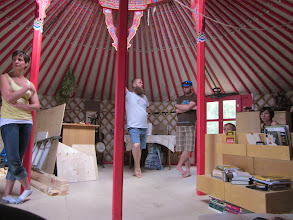 Photo: Discussing yurts
