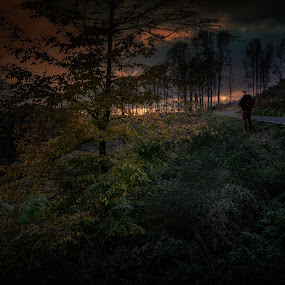 Wondering through the woods of Medvednica mountain in Croatia by Dražen Škrinjarić - Landscapes Forests ( clouds, hills, dreamy, europe, mountain, colorful, sljeme, twilight, croatia, tourism, road, zagreb, leaves, woods, medvednica, tourist, red, tree, color, sunset, foliage, dark, moody, night, man )