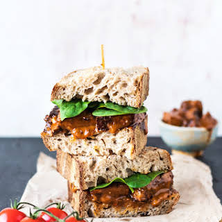 Vegan Buffalo Tofu Chicken Sandwich.