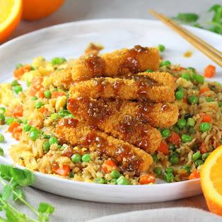 Soy-Orange Crispy Fish over Cauliflower Fried Rice.