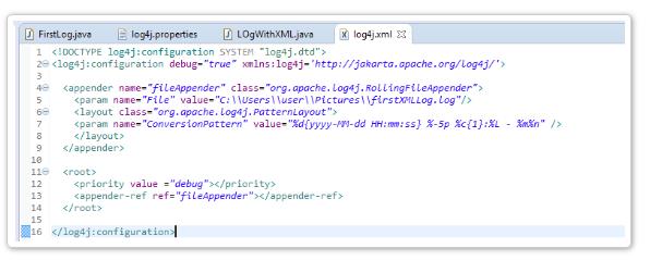 XML File Configuration with Log4j