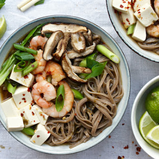 Miso Buckwheat Soba Noodle Soup With Roasted Shiitake Mushrooms, Prawns And Tofu.
