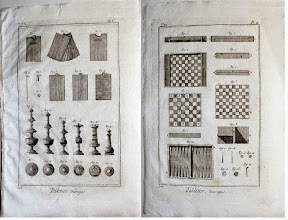 """Photo: Two original engraving plates DIDEROT'S ENCYCLOPEDIA, """"TABLETIER"""",1776. Large 10 3/4"""" x 16 1/4"""". Paper is handlaid, plate mark is sharp. Plate shows chess pieces made by a manufacturer. (Crumiller, same link as previous)"""