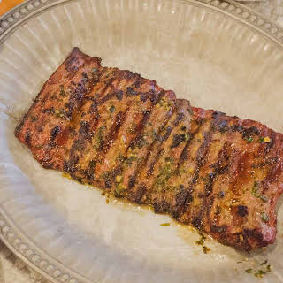 Grilled Skirt Steak with a Garlic Cilantro Rub.