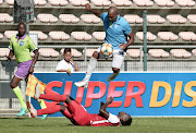 Nathan Paulse of Cape Umoya United FC skips past a tackle during the 2019 Nedbank Cup last 16 game between Cape Umoya United and Mbombela United at Athlone Stadium, Cape Town on 15 February 2019.