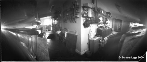 Photo: Film canister pinhole camera (180 degrees) of the kitchen in daylight.  15 min exposure on VC paper (no preflash)