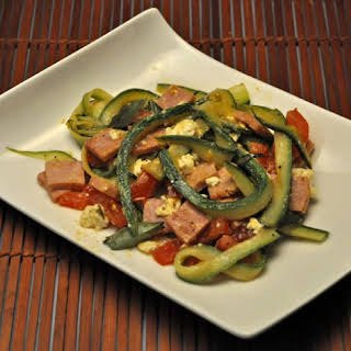 Zucchini Noodles with Ham and Feta.