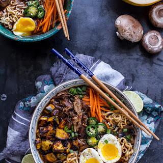 Crockpot Crispy Pork Noodle Soup with Curry Roasted Acorn Squash