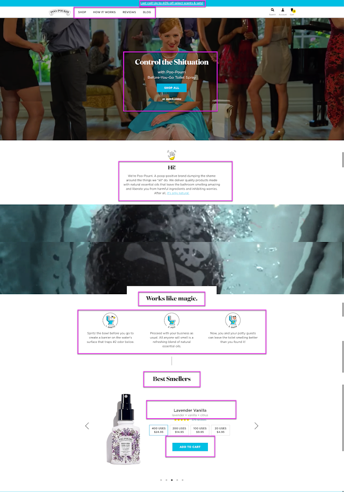 Poo-Pourri's homepage. The heading, subheading, and product descriptions outlined in pink square boxes.
