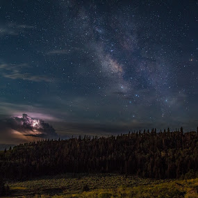 Cathedral Valley by Mark Richardson - Landscapes Starscapes ( thunder, lightning, utah, stars, trees, storm, galaxy, milky way )