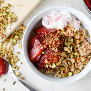 Baked Breakfast Quinoa with Plums and Pistachios.