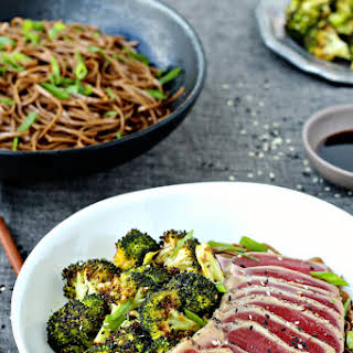 Seared Tuna with Soba Noodles and Sesame Roasted Broccoli.