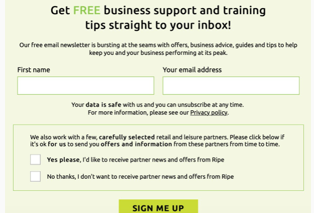 Example of email signup with clear consent checkboxes