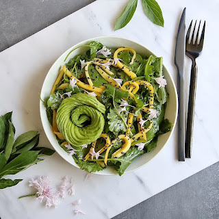 Kale, Mango & Spinach Salad with Miso Ginger Dressing