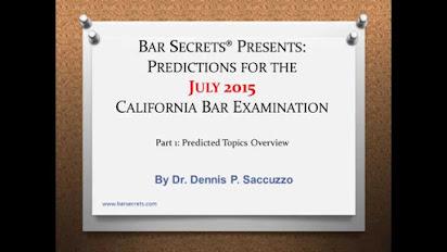 California Bar Essay Predictions July 2015