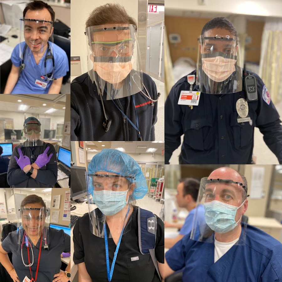 Healthcare professionals at Columbia University Medical Center/New York-Presbyterian Hospital using 3D printed face shields thanks to the MatterHackers Maker Response Hub.