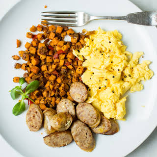 Sweet Italian Sausage Scramble with Sweet Potato Hash.