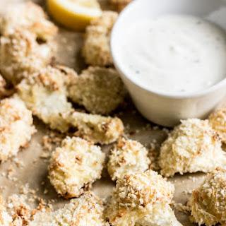 Crispy Parmesan Cauliflower Bites with Garlic Ranch Dip