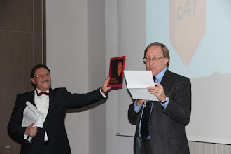 """Photo: James Gillies, announcing the C4F award winner of """"Relations of the Future"""" 2012"""
