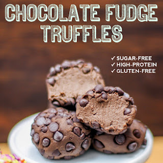 Healthy Chocolate Fudge Truffles (sugar free, low carb, low fat, high fiber, high protein, gluten free).