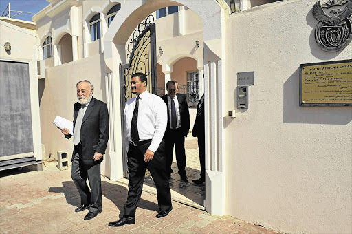 Deputy Minister of International Relations and Cooperation Marius Fransman, right, with Professor Cyril Karabus outside the South African embassy in Abu Dhabi, in the United Arab Emirates. File photo.
