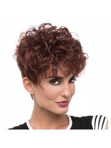 Wine Red Gradient Ramp Short Curls Wig