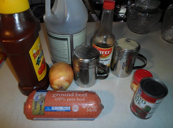 Get all ingredients together, except the ground beef, onion and buns. Measure all the...