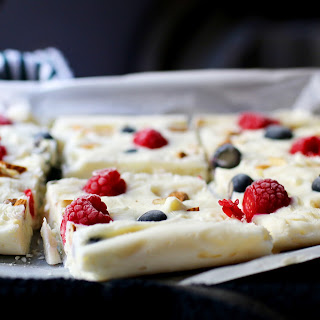 Guilt-Free No-Bake Red, White and Blue Bark.