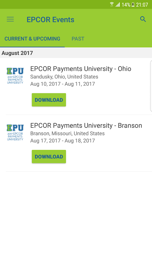 EPCOR Events- screenshot