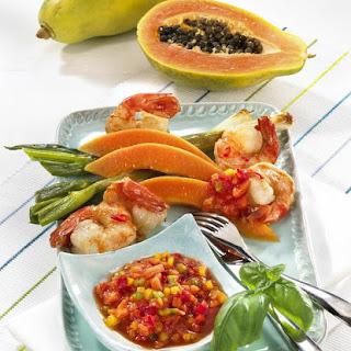 Prawns with Papaya Salsa.
