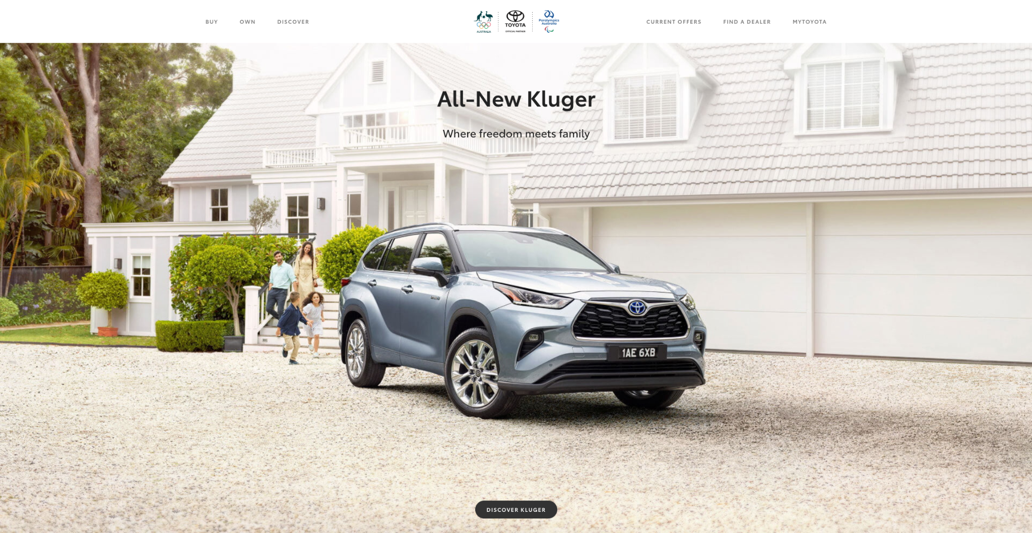 Snapshot of Toyota Australia homepage showing the all-new Kluger
